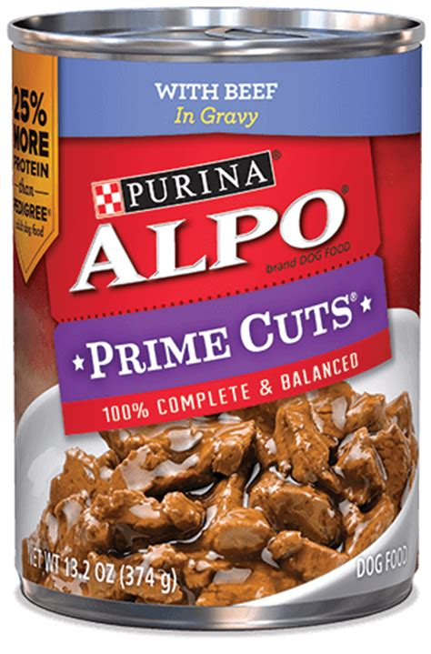 alpo food alpo 174 prime cuts with beef in gravy food