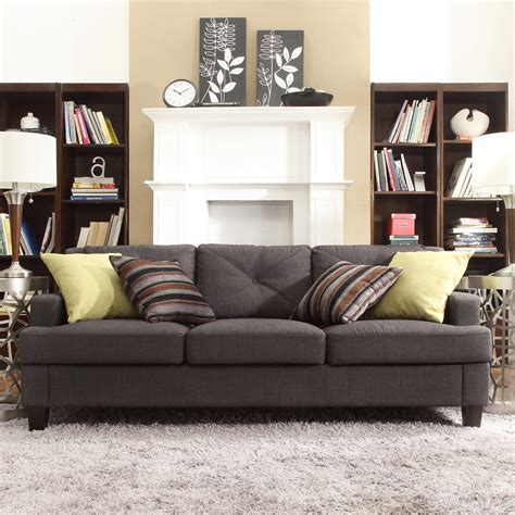 Grey Sofas by Inspire Q Upholstered Tufted Sofa Gray Sofas