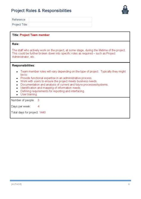 project roles and responsibilities template ape project