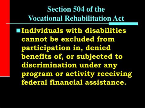 section 504 of rehabilitation act ppt history of special education the past 60 years