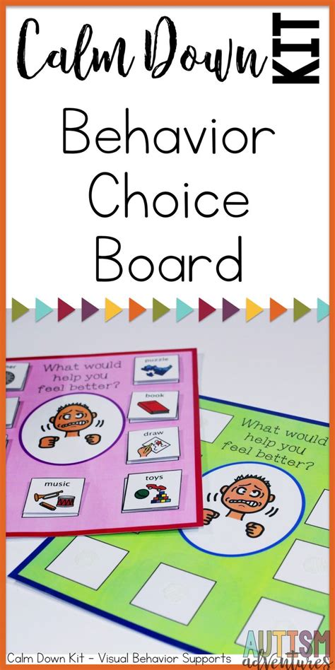 calm down choices calm down kit visual behavioral management tools for