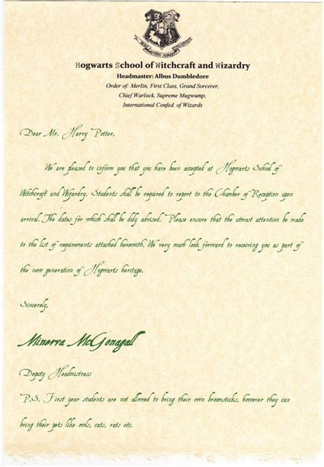 Harry Potter Acceptance Letter deluxe harry potter acceptance letter to by hogwartsschool 34 99 tv shows