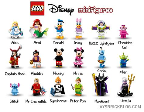 disney names official reveal of the lego disney minifigures