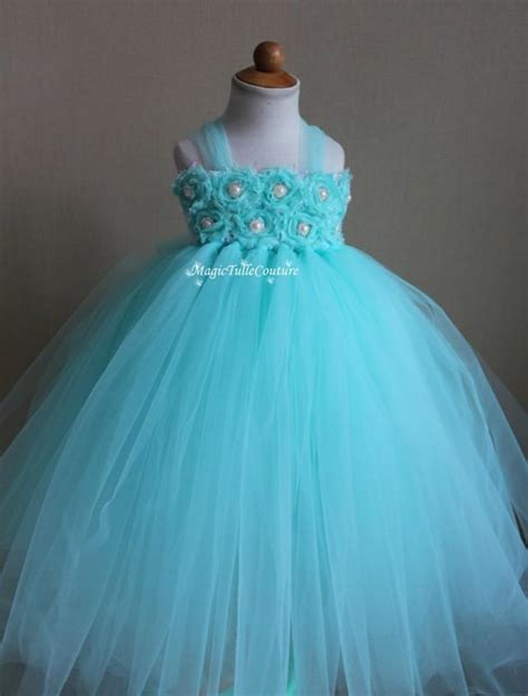 Dress Tutu White Blue Flower 4 6 Th Include Headbandgelangcincin aqua mint blue flower tutu dress birthday dress toddler dress 1t2t3t4t5t6t7t8t9t10t