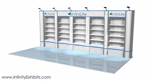 trade show display shelving 20ft multi 5 section shelf with rounds trade show display