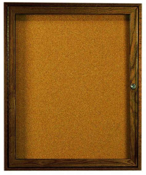 Walnut Stained Oak 1 Door Enclosed Bulletin Board Cabinet