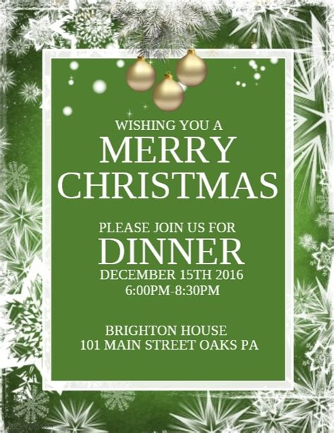 Christmas Dinner Template Postermywall Dinner Poster Template