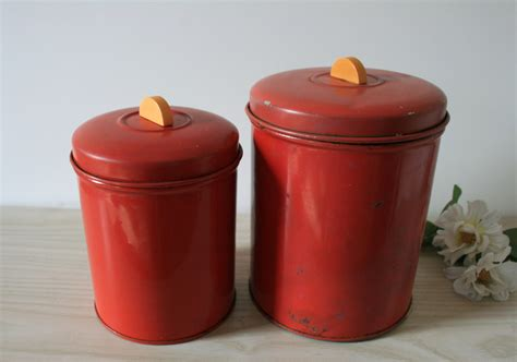 kitchen canisters red vintage set of 2 red canisters kitchen canisters old tin