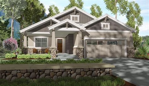 craftsman home with board and batten siding craftsman plan 64410sc 2 bed bungalow with rear covered patio in