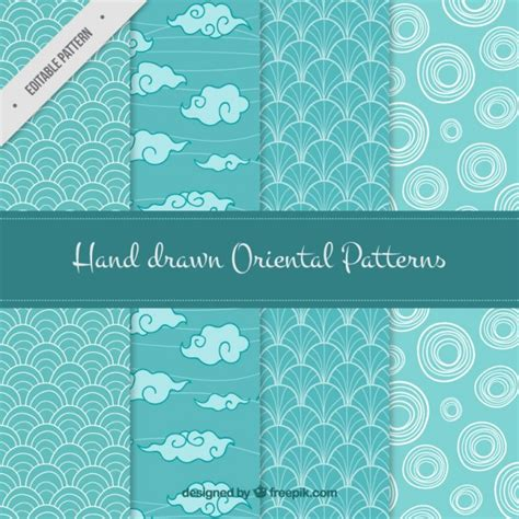 oriental pattern vector free download set of hand drawn oriental patterns vector free download