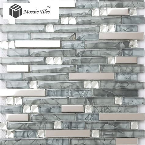 grey stainless glass tile backsplash kitchen