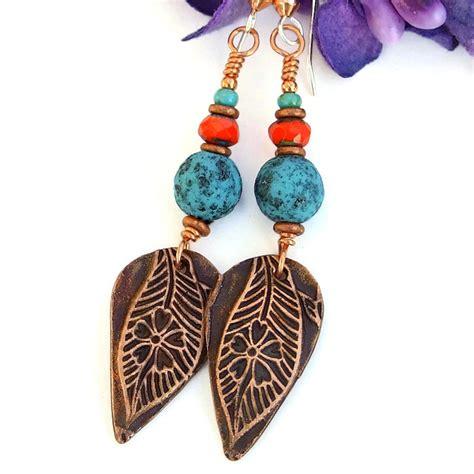 The Perfection Handmade Jewelry - leaf flower earrings handmade jewelry gift copper
