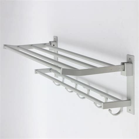 bathroom hanger foldable alumimum towel bar rack holder hanger w 5 hooks