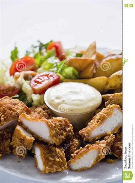 Tasty Chicken Strips tasty chicken strips with country potatoes royalty free stock photos image 23203048