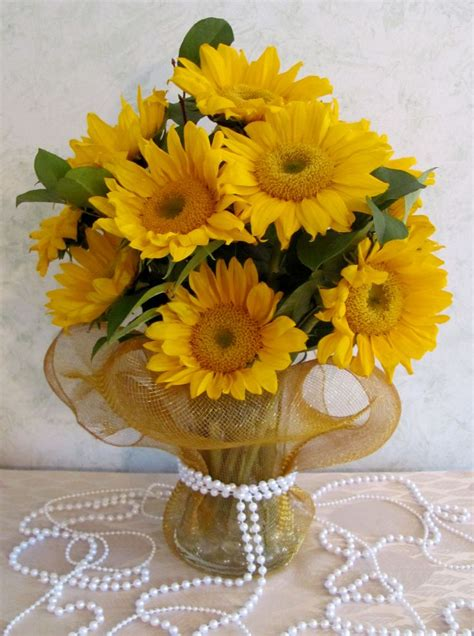 sunflower arrangements ideas sunflower centerpiece with pearl detail sunflower