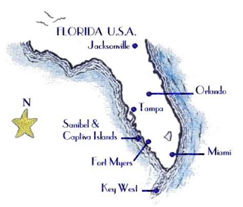 map of florida showing island captiva island map and travel page