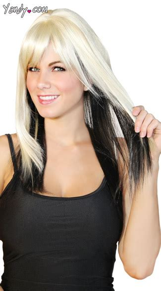 platinum blonde on the bottom and dark blonde om the top platinum and black two toned wig blonde and black wig