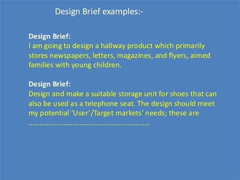 design brief specification and constraints design brief for engineering design process
