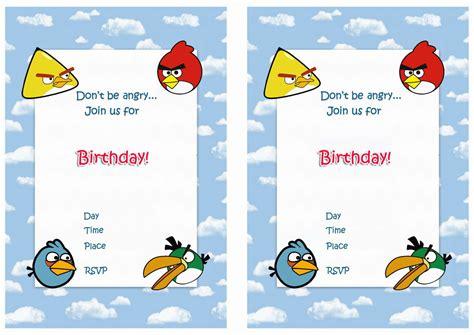 angry birds birthday invitations birthday printable