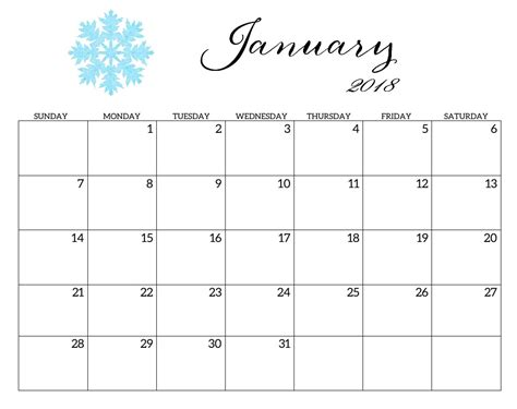 january 2018 calendar canada calendar printable free
