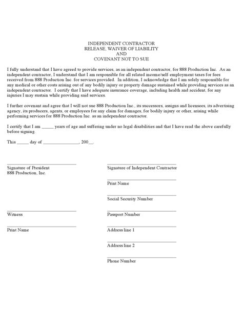 waiver template word contractor liability waiver form 2 free templates in pdf