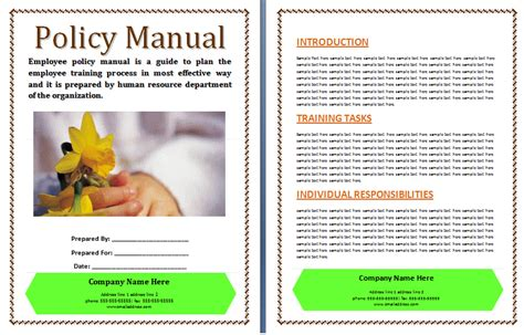 office manual template office work manual template free printable word templates
