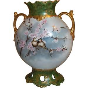 Conyers Flower Shop - limoges pouyat pillow vase with reticulated bottom love birds on from elliestreasures on ruby lane