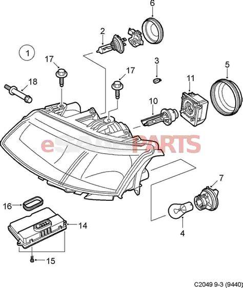 saab 9 3 car headlights diagram saab auto parts catalog