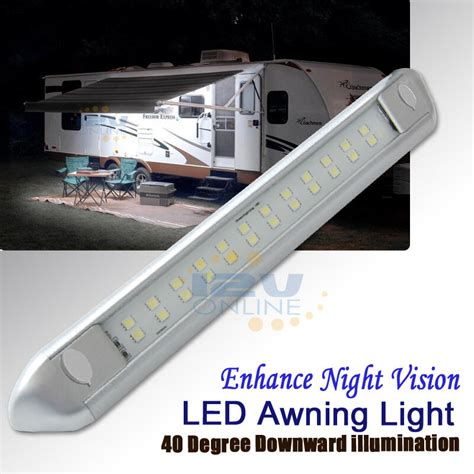 patio awning lights 12v 9 84 quot silver led awning porch light rv caravan boat