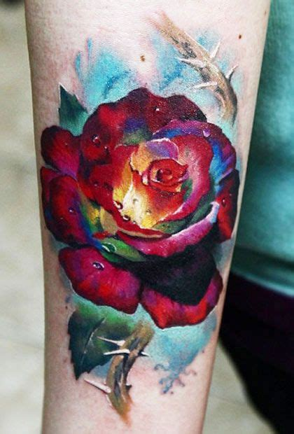 rose realism tattoo realistic flowers by valentina ryabova