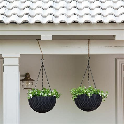 Plastic Hanging Planters Outdoor by Keter Dia 13 8 In Plastic Resin Garden