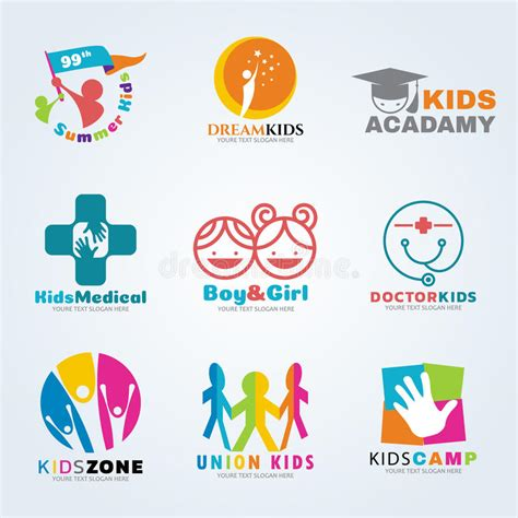 kids logo design stock illustration image of childhood kids logo for business vector art set design stock vector