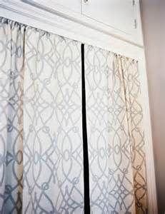White Curtains With Gray Pattern Closet Curtains Transitional Closet Lonny Magazine