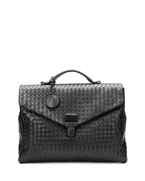 Bottega Veneta Woven Briefcase by Bottega Veneta Mens Small Woven Leather Briefcase In Brown