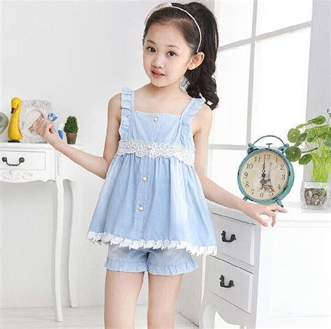 Kido T Shirt Set Anak 2015 summer style baby dress clothes lace children clothing leisure dress