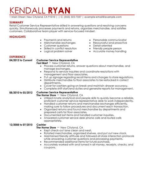 customer service representative resume exles retail
