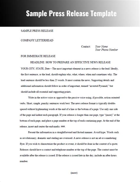 professional press release template press release templates free word pdf doc formats