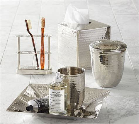 pottery barn bathroom accessories hammered nickel bath accessories pottery barn