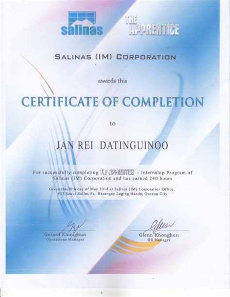 sample certificate for ojt completion beautiful 5 sample of