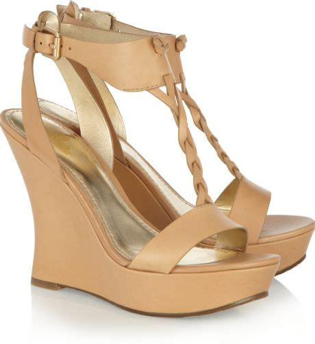 neutral wedge sandals by sigerson morrison leather wedge sandals in beige