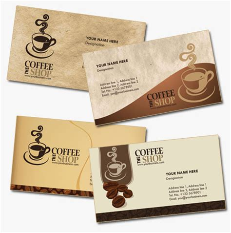 free coffee bussiness card template コーヒーショップ カフェ に最適 4種類の名刺テンプレート 無料ダウンロード psd 名刺専科