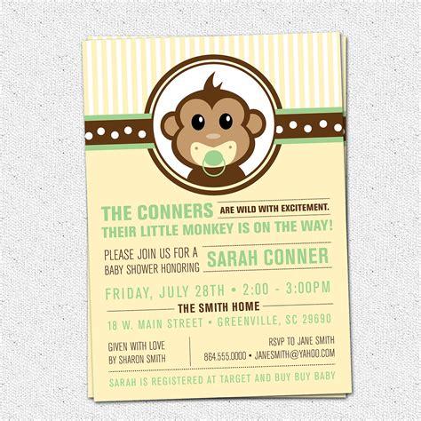 free monkey baby shower invitation templates monkey baby shower invitation printable modern