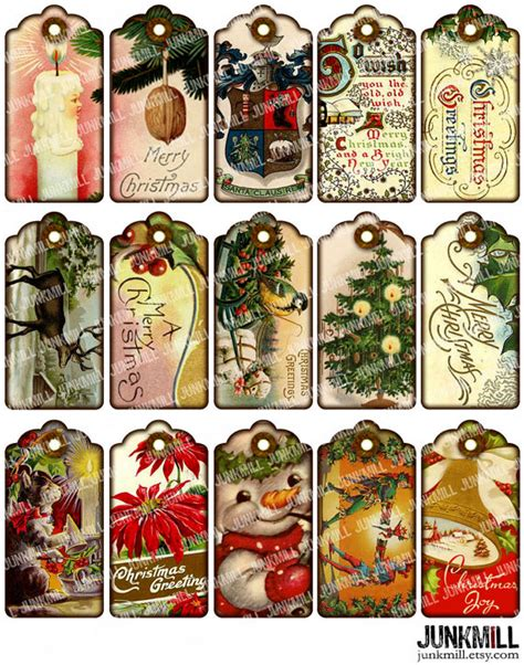 victorian gift tags digital printable collage sheet by
