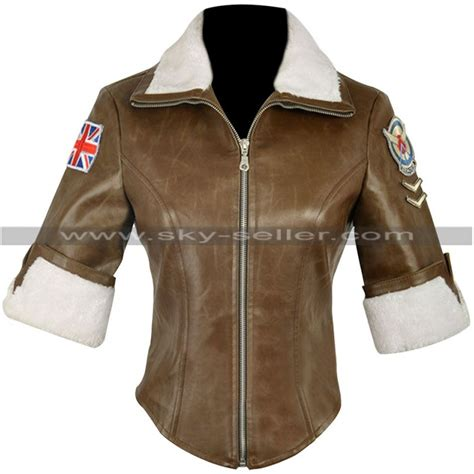 Jaket Overwatch Black T1310 4 overwatch tracer brown fur leather jacket