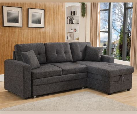 Grey Linen Sectional Sofa by Grey Linen Like Fabric Pull Out Sofa Bed Sectional