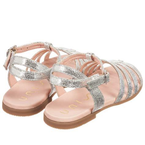 girls sandals c unisa girls silver metallic leather sandals childrensalon