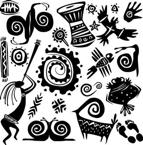 african patterns black and white vector エスニック風クリップアート イラスト素材 古代壁画 仮面 free style