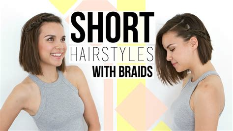 easy hairstyles for short hair youtube 2 quick easy braids hairstyles for short hair bobs