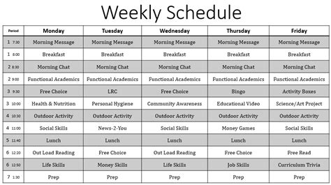 special education schedule template empowered by them weekly schedule for the time being