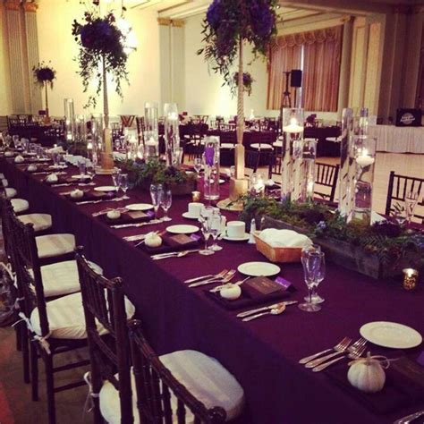 eggplant and silver wedding decor   Cherry Blossom Events